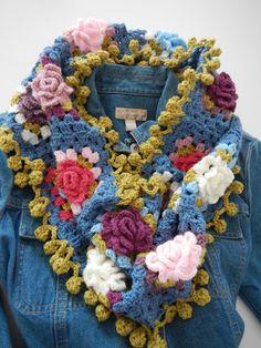 Apple Blossom Dreams: Granny Rose Scarf with Bobbly Trim IV