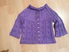 Violet's purple cardigan. Drops cotton viscose yarn.