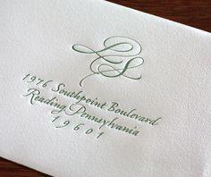 liza letterpress wedding invitation - monogram response envelope