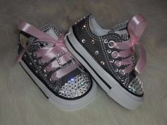 20c2bada0cc4 Baby infant toddler Converse Chuck Taylors Swarovski Crystals Bling SHOES  ALLSTAR rhinestone Pageant princess PHOTO Prop girl gray pink on Etsy