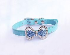 PETFAVORITES Couture Designer Fancy Cute Feather Bling Rhinestone Bow Tie Pet Cat Dog Collar Necklace Jewelry For Small or Medium Dogs Cats Pets Female Puppies Chihuahua Yorkie Girl Costume Outfits Light and Adjustble Buckle Neck Size 107  13 Blue -- Want additional info? Click on the image. Note: It's an affiliate link to Amazon.