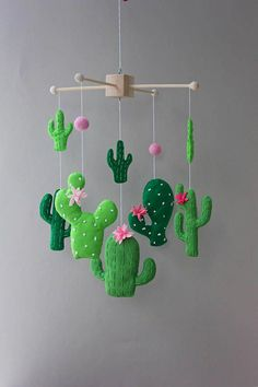 cactus mobile cactus baby mobile cactus nursery cactus baby decor mobile baby baby mobile mobile nursery cot mobile crib mobile boy mobile baby shower gift cactus decor cactus Size: height from the wo Decoration Cactus, Cactus Craft, Cactus Cactus, Desert Cactus, Baby Cactus, Felt Crafts, Diy And Crafts, Recycled Crafts, Baby Dekor