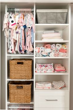 Having an organized and functional nursery closet was at the top of my to-do list before Collins arrives! California Closets came to the rescue with tips for staying clutter-free. California Closets, Baby Nursery Closet, Baby Room, Baby Closets, Nursery Closet Organization, Baby Wardrobe Organisation, Wardrobe Storage, Desk Organization, After Baby