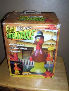 Giant 8' Airblown Inflatable Thanksgiving Turkey by Gemmy Lights Up
