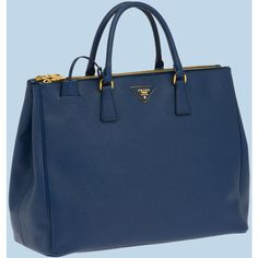 PRADA Saffiano Leather Tote ($2,580) ❤ liked on Polyvore featuring bags, handbags, tote bags, cornflower blue, man bag, tote handbags, blue totes, tote purses and blue purse