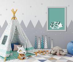 Framed Digital Print | Wall Art For Childrens Room | Living Room | Office | Gift - Floral Hedgehog - Green