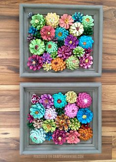 These Creative DIY Spring Crafts Will Instantly Brighten Your Home - Garden ideas - Framed Flower Pine Cone Decorcountryliving - Pine Cone Art, Pine Cone Crafts, Pine Cones, Pot Mason Diy, Mason Jar Crafts, Easy Crafts, Craft Projects, Crafts For Kids, Craft Ideas