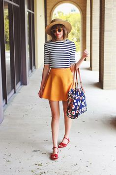 Striped High Neck Top, Yellow Skater Skirt, Red Clog Sandals, & a Straw Hat