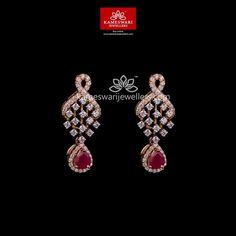 Purchase Earrings On-line The Knott Diamonds Hangings from Kameswari Diamond Earrings Indian, Gold Jhumka Earrings, Jewelry Design Earrings, Buy Earrings, Gold Earrings Designs, Ear Jewelry, Necklace Designs, Fine Jewelry, Boho Jewelry
