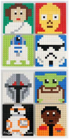 LEGO Star Wars Mosaic Building Cards - Star Wars Family - Ideas of Star Wars Family - 10 different LEGO Star Wars Mosaic Designs! Print the building cards from the post. Lego Star Wars, Star Wars Art, Star Trek, Lego Hogwarts, Modele Pixel Art, Lego Mosaic, Lego Toys, Lego Lego, Lego Batman