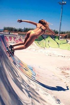 Skater girl skateboards sexy