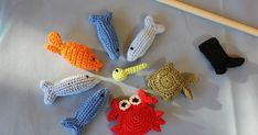 DIY: crochet fishing game for children, with instructions; Make fishing game you… DIY: crochet fishing game for children, with instructions; Make fishing game yourself – häckeln Crochet Game, Crochet For Kids, Diy Crochet, Crochet Crafts, Diy Crafts, Home Made Games, Confection Au Crochet, Crochet Animals, Baby Knitting