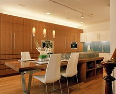 kitchen with dining area attached to center island