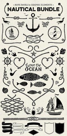 nautical vector pack elements, illustration, logo