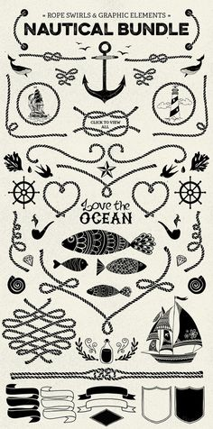 nautical vector pack elements, illustration, logo