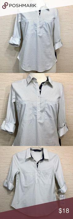 24b9c4da Zara Basic Blouse Polka dots XL Navy & White Zara basics cotton blouse  Three-quarter