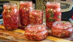 I heat the juice that I've drained off the veggies so pour over my salsa after I've filled the jars with the salsa veggies - more juice will give you thinner salsa, less thicker - Making Salsa, How To Make Salsa, My Salsa, Jars, Juice, Veggies, Canning, Food, Juicing