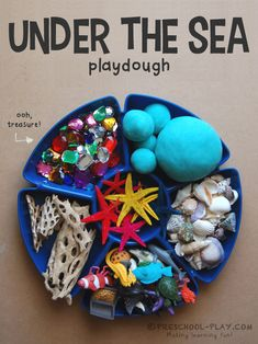 This playdough tray is the perfect addition to any ocean theme. Children will enjoy building their own seascapes with driftwood, shells, and other goodies. Sea Activities, Playdough Activities, Kindergarten Activities, Summer Activities, Toddler Activities, Preschool Activities, Beach Theme Preschool, Therapy Activities, Snail And The Whale