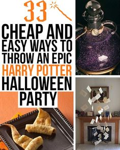 33 Cheap And Easy Ways To Throw An Epic Harry Potter Halloween Party I love the idea of putting a picture of Moning Myrtle on the inside of the toilet seat. Ideas for floating candles, homemade wands, games, snacks, decor...