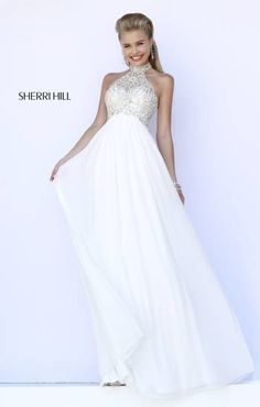Prom 2015 White gown with beaded bodice