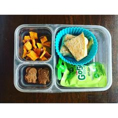 School lunch: roasted sweet potatoes and golden beets, cheese quesadillas, GoGoSqueeze applesauce and MySuperCookies Chocolate Heroes.