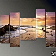 Art Hand Painted Modern Abstract Oil Painting on Canvas Wall Art Deco Home Decoration Hawaii Beach Seashore Sunrise 5 Pic/set Stretched Ready to Hang Perfect for Taylor's bedroom! Large Canvas Art, Canvas Wall Art, Multiple Canvas Paintings, Large Art, Sunset Beach Hawaii, Ocean Sunset, Gold Beach, Frames For Sale, Oil Painting Abstract