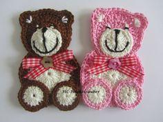 Handgehäkelter Teddy, 100% Baumwolle, Länge 11,5 cm Preis gilt für 1 Bär Diese Applikationen kann man annähen auf Taschen,Kissen,Babydeck...