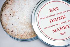 """SO doing this. """"To set the tone...the invitations were custom labels attached to tin canisters of margarita salt.""""  LOVE."""