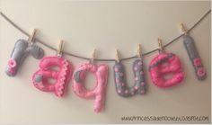 Nombre en fieltro para decorar habitación de los peques