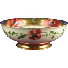 Charles Ahrenfeldt (CA) Limoges Pickard Studios Poppy Bowl (Signed H.M. for Harry Michel ca. 1903-1905.