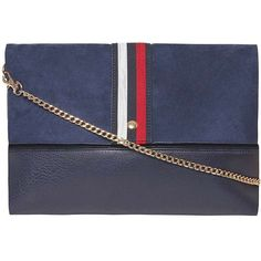 Dorothy Perkins Navy Sport Stripe Clutch Bag (£31) ❤ liked on Polyvore featuring bags, handbags, clutches, blue, foldover clutches, navy blue purse, blue handbags, navy blue handbags and fold over purse