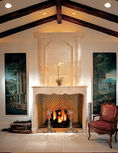 Our antique limestone fireplaces have unrivaled character and patina. They reflect a natural splendor.
