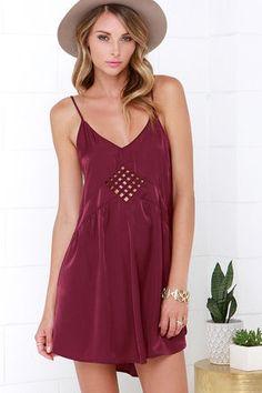 Sexy Burgundy Dress - Slip Dress - Cutout Dress - $66.00