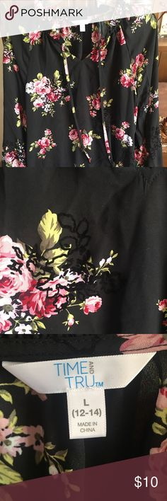 82cec9ff83e89b Size Time and Tru Brand from Walmart. Gorgeous black embroidery detail and  elastic cuffed sleeves. Time and Tru Tops Blouses