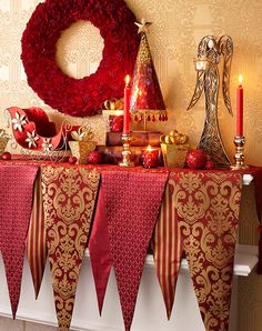 A mantel set with pieces from the Holiday Grandeur Collection. #Christmas #fireplace