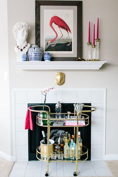 A Whimsical Apartment for Two in Columbia, MD – Design*Sponge Wall Shelves, Shelf, Fireplace Mantels, Living Room Interior, House Tours, Interior Inspiration, Beautiful Homes, Whimsical, Living Spaces