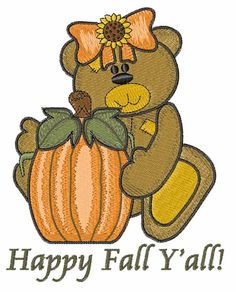happy fall yall images | Animals Embroidery Design: Happy Fall Yall from Windmill Designs