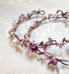 purple headband floral headpiece floral circlet by thehoneycomb
