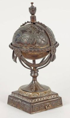 Bronze Globe Inkwell. Eighteenth Century