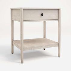 Gia Pickled Oak Nightstand | Crate and Barrel Unique Furniture, Custom Furniture, Furniture Making, Home Furniture, Oak Nightstand, 7 Drawer Dresser, Bedside Storage, Low Shelves