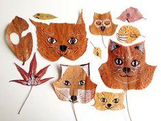 Manualidades de hojas secas pintadas como animales