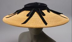 American Woman's Hat 1950 Straw, velvet