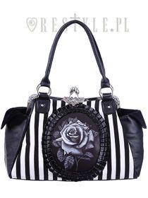 """Cameo bag """"BLACK ROSE"""" Black and White Stripes, gothic handbag"""