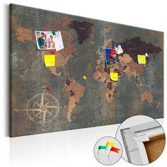 """☚ ☛ Pinnwand Weltkarte """"Mysterious World"""". Pinnen Sie Ihre Fotos, Notizen und Einladungen an die Pinnwand! Perfekt für alle Weltenbummler! ☚ ☛"""