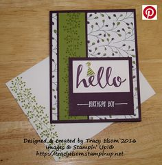 Masculine birthday card created using the Flowering Fields Designer Series Paper (DSP) pack and Hello Stamp Set (both FREE choices from Stampin' Up! during Sale-A-Bration).  http://tracyelsom.stampinup.net