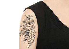 TEMPORARY TATTOO Vintage Rose / Peony Tattoo Various
