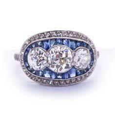 Art Deco Three Diamond & Sapphire Ring. Subtle. Fine. Classy. Mine!