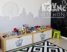 home, kedvencotthon, interiordesign, interiorstyling, kidsroom, walldecor, diy, silhouette, metropolis, painted wall, houses, desk, tables, comics, lego storage (photo: B. Tier Noémi / Kedvenc Otthon)