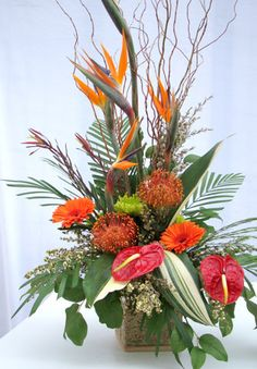 tropical ikebana flower arrangement pictures | Japanese Ikebana Style : Long-lasting Flower Arrangement for Weddings ...