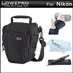 Lowepro Toploader Zoom 50 AW Digital SLR Holster Camera Bag / Case (Black) + Wrist / Hand Grip + Lens Pen Cleaning kit + MicroFiber Cloth For Nikon D3200, D5100, D3100, D7000, D90, D5000, D3000, D300s, D3s, D3x, D700 DSLR, Nikon 1 J1, Nikon 1 V1 Camera (Electronics)